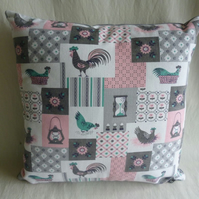 Vintage Scandinavian chicken cushion cover