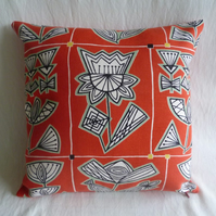 Red 1950s large floral cushion cover