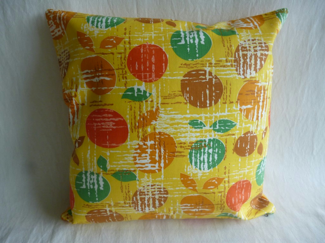 Yellow apple patterned vintage cushion cover