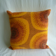 1960s yellow funky barkcloth cushion cover