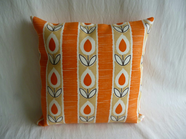 Orange stylised tulip 1960s cushion cover