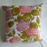 Vintage hydrangea fabric cushion cover
