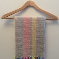 Striped woven pure wool cwtch blanket in a bag