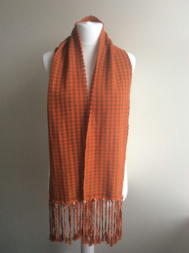 Houndstooth woven cotton scarf