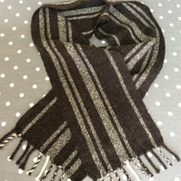Pure Shetland black and natural scarf