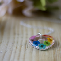 Real Flower Rainbow Heart Necklace - Blossoms - Sterling Silver