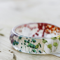 Real Flower Rainbow Bangle - Botanical Jewellery