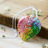 Real Flower Rainbow Heart Necklace - Lace Flowers - Sterling Silver