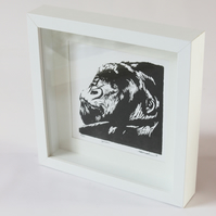 gorilla screenprint from linocut design