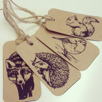 hand printed squirrel, hedgehog, robin and fox gift tags
