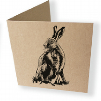 handprinted brown hare card