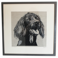 Linocut and screenprint spaniel print
