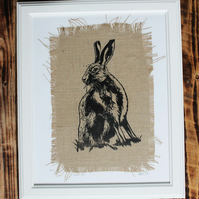 linocut screenprint hare on hessian