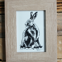 linocut and screenprint hare