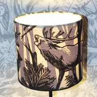 handprinted stag and deer lampshade