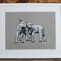 loving lambs linocut and screenprint