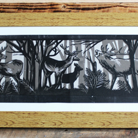 stag and deer scene linocut screenprint
