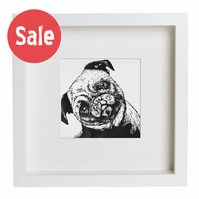 linocut and screenprint framed pug print