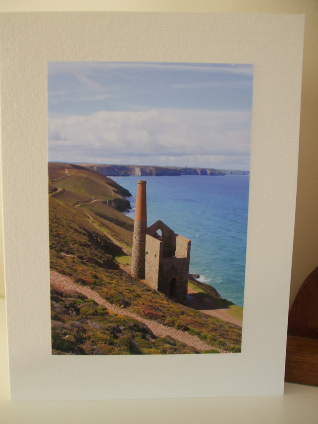 Greetings card with photo of Wheal Coates Tin Mine Cornwall