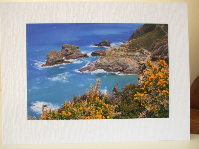 Greetings card with photo of North Cornish coast