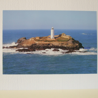 Greeting card with a photo of Godrevy Lighthouse
