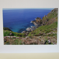 Greetings Card with a photo of Botallack Mine Cornwall