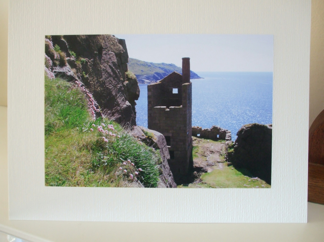 Greetings card with a photograph of Botallack Tin Mine, nr. St. Just-in-Penwith,