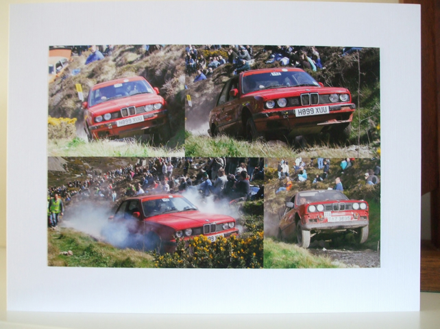Montage of photographs of red BMWs on the LandsEnd Trial.