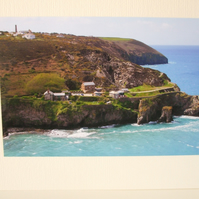 Photographic card of the point at Trevaunance Cove, St.Agnes, Cornwall.
