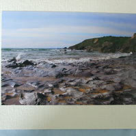 Photographic greetings card of sea washed rock at Church Cove.