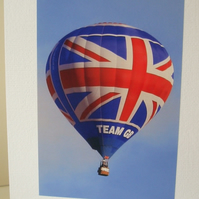 Photographic greetings card of Hot Air Balloon Team GB.