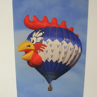 "Photographic greetings card of a ""Chicken Head"" Hot Air Balloon."