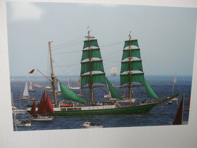 "Photographic greetings card of a Tall Ship ""Alexander Von Humboldt""."