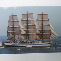 "Photographic greetings card of a Tall Ship ""Mir"""