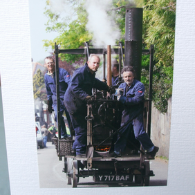 Photographic greetings card of Trevithick's Steam Engine.