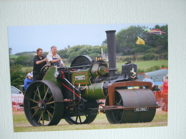 "Photographic greetings card of a Steamroller ""Blackberry Jack""."