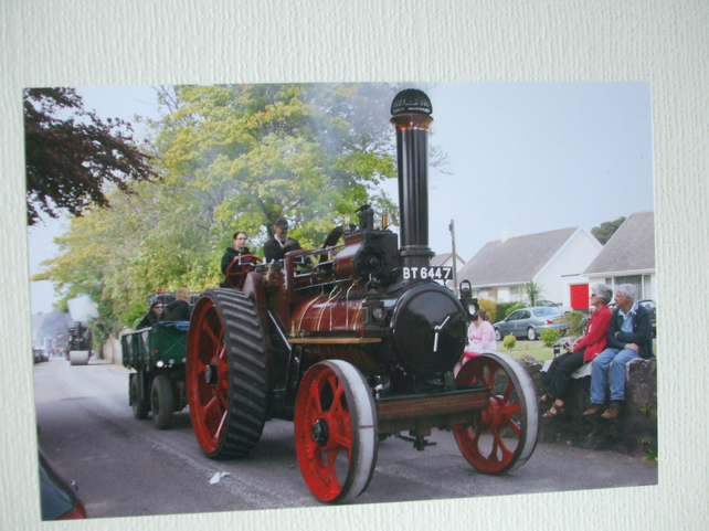 Photographic greetings card of a Steam driven road loco.