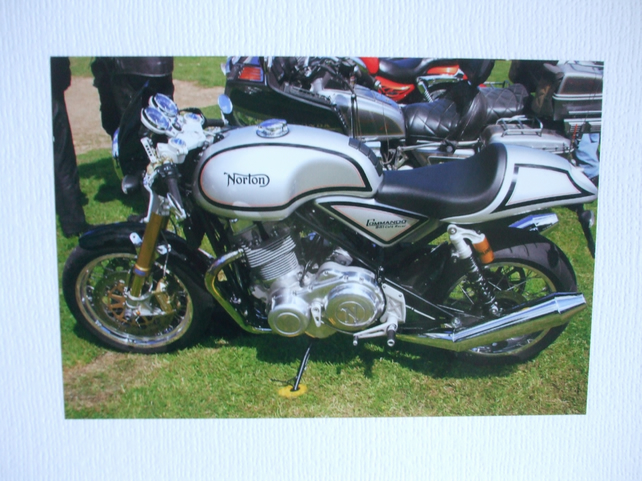 Photographic greetings card of a Norton motorbike.