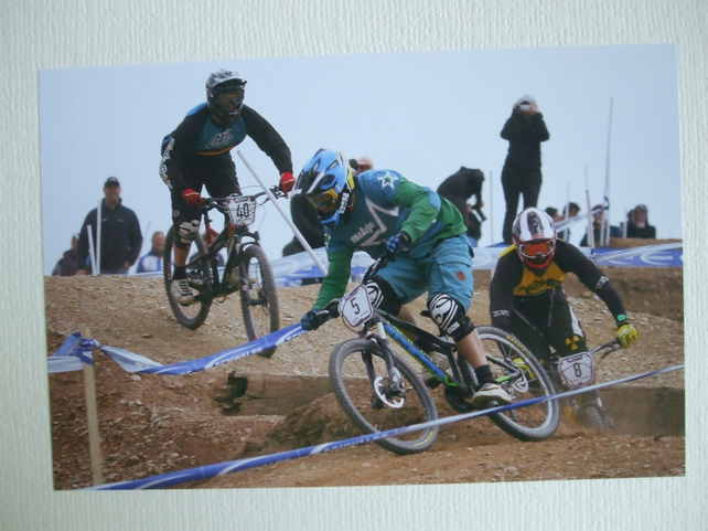 Photographic greetings card of a 4X bike race