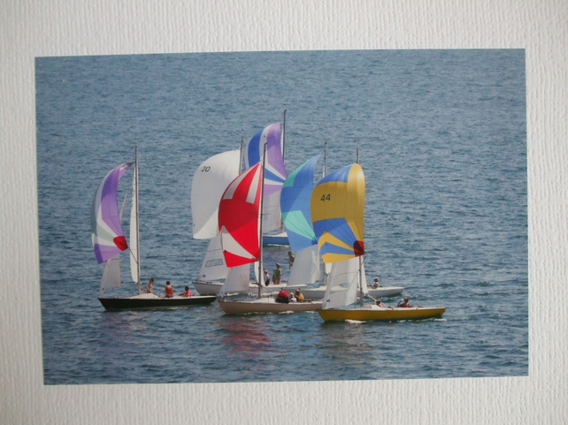 Photographic greetings card of dinghy racing.