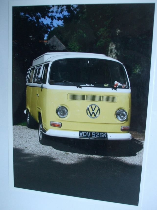 Photographic greetings card of a VW Camper.