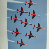 Photographic greetings card of the Red Arrows in diamond formation.