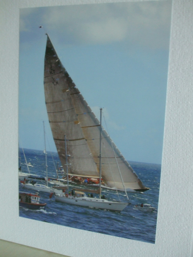 Photographic greetings card of a 'J' class racing yacht, Valsheda.