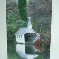Photographic greetings card of Trevarno boat house.