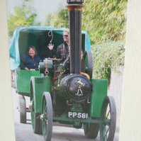 "Photographic greetings card of steam traction engine ""Bow Peep""."