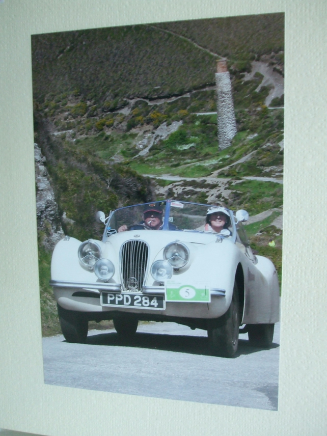 Photographic greetings card of a Jaguar XK120 convertable.