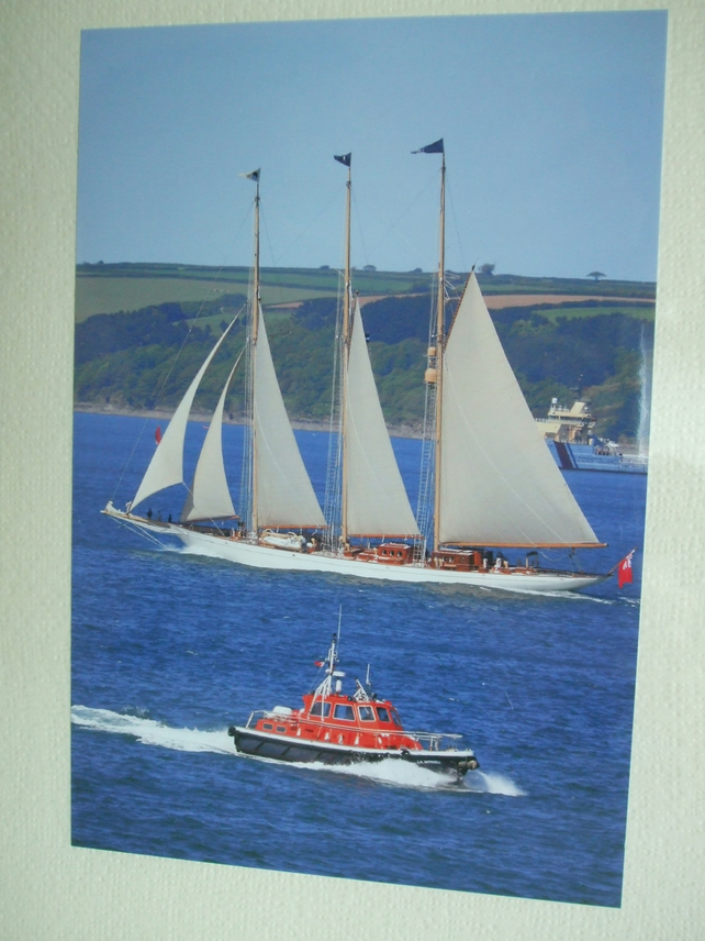 Photographic greetings card of 'Adix', a super yacht.