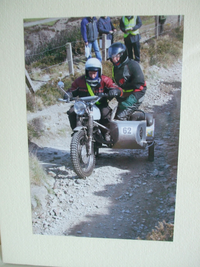 Photographic greetings card of a motorbike and sidecar on the Lands End Trial.