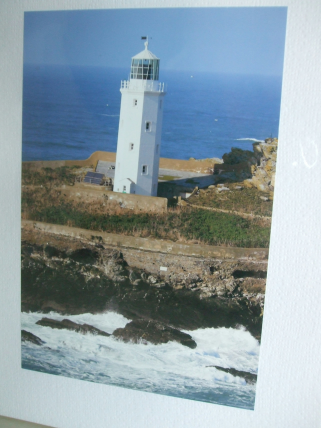 Photographic greetings card, a close up of Godrevy Lighthouse,