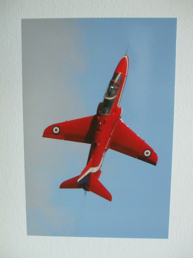 Photographic greetings card of a Red Arrow in a vertical climb.